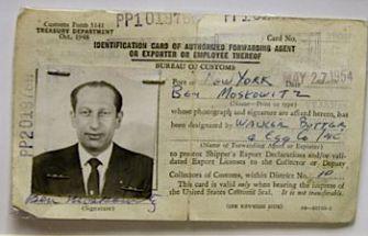 Ben Moskowitz?s Export License, issued in October of 1948