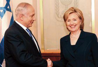 Warm handshake: Prime Minister Benjamin Netanyahu greets Secretary of State Hillary Clinton.