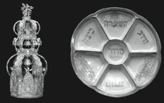 Left Behind: A Torah crown and Seder plate were among the pieces of Judaica left behind by Shabatai Von Kalmanovic.