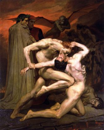 Going Down: Dante and Virgil watch those con- demned for wrath fight in the fifth circle of hell.