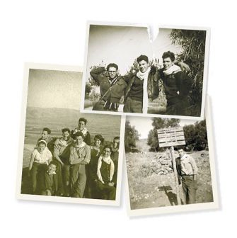 Builders: Leonard Fein is pictured here with his fellow Habonim members in Israel. (He is in the center in the top and left pictures.) Click to view larger