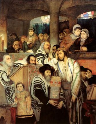 Bored or Repentant?: Polish-Jewish artist Maurycy Gottlieb painted himself standing, wearily, to the right of the rabbi. Painting: ?Jews Praying In The Synagogue On Yom Kippur? (1878)