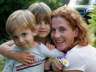 A More relaxed Fit: Ayelet Waldman with her children, Abe and Rosie, at a vacation house in Maine in July 2005. Waldman and other authors have written about a new role of motherhood that encourages more laxity in parenting.