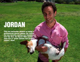 Available: A page from the Nice Jewish Guys Calendar 2010 features Jordan, a wannabe actor, and his dog. Click to view larger.