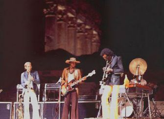 Liebman with Miles Davis in Baalbek, Lebanon in 1973.