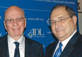 Chooser and Chosen: Rupert Murdoch being honored by Foxman (right) and the ADL.