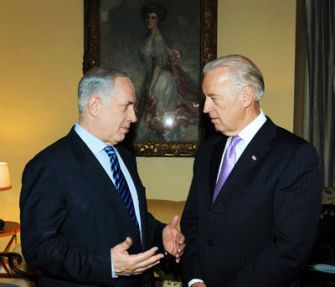 Trying To Make Up: Prime Minister Benjamin Netanyahu (left) talks with Vice President Joe Biden on March 23. Later that day, Netanyahu met with President Obama, but photography wasn?t allowed.