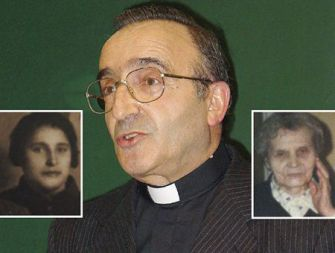 Son of Two Mothers: Father Romauld Jakub Wksler-Wasznikel was born a Jew to Batia Weksler, left, but was raised a Catholic by Emilia Waszkinelowa, right.