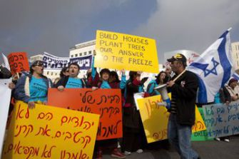 Unwilling To Concede:  West Bank settlers protest the Israeli government?s decision to impose a 10-month moratorium on housing starts in existing settlements.
