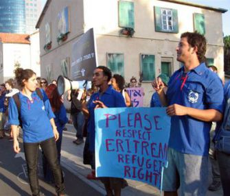 A Plea For Rights: In Tel Aviv, members of Labor Party youth movement protested in December on behalf of Eritrean residents.
