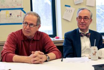 Aging Wisely: Freeman Shore (left) and Peter Jakes attend a lunchtime meeting to discuss everything from gratitude and relationships to considering one?s legacy.