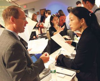Meet and Greet: Industry-specific career fairs, like this one hosted by Brandeis, are becoming more common.