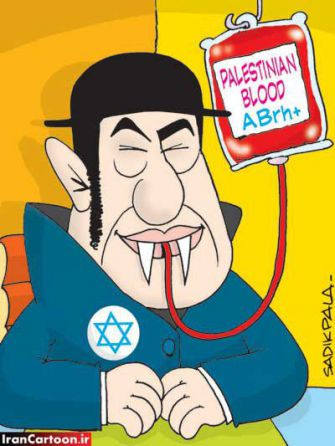 Efficient Calumny: This Indian entry to the Iran Holocaust Cartoon Contest distills many antisemitic anti-Zionist bigotries. (click for zoom)