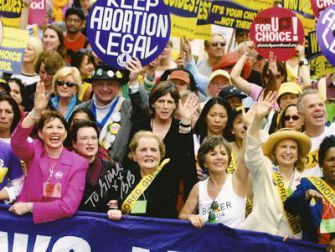 Fight for Rights: Feldt (in pink) stood front and center with other activists at the 2004 March for Women?s Lives demonstration in Washington to fight for women?s reproductive rights.