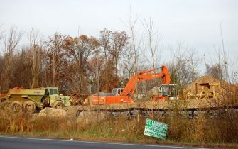 A Slaughterhouse Grows : Construction vehicles on the site in Rockland County where a slaughterhouse has been proposed. (click for larger)