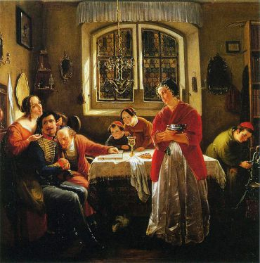Moritz Daniel Oppenheim, ?Return of the Volunteer from the Wars of Liberation to His Family Living According to the Old Customs,? 1833-34