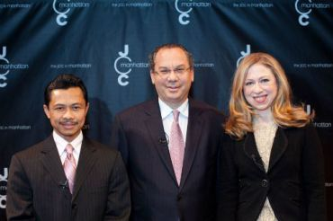 From left: Imam Shamsi Ali, Rabbi Marc Schneier and Chelsea Clinton