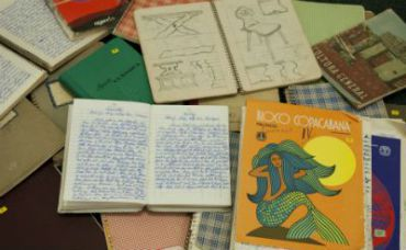 Some of the diaries of Josef Mengele on display at Alexander Autographs on July 19, 2011 in Stamford, Conn.