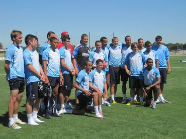 Tottenham Hotspur players pose after a training session in San Jose, Calif., in July 2010. Credit: Wiki Commons/Allison Pasciuto