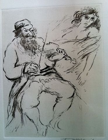 From Ten copper plate etchings by Ira Moskowitz (1912-1985) for Isaac Bashevis Singer?s ?Satan In Goray.?  Courtesy of Cantor Bob Scherr at the Jewish Religious Center