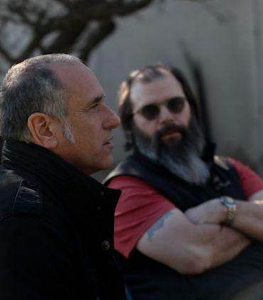 David Broza with producer and country star Steve Earle.
