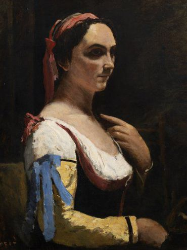 ?The Italian Woman, or Woman with Yellow Sleeve? by Jean-Baptiste-Camille Corot