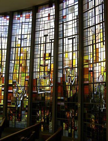 Chapel windows by Jean-Jacques Duval, Congregation B?nai Jacob, Woodbridge, CT. Photo by Samuel D. Gruber.