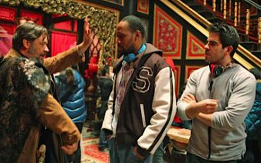 Russell Crowe, RZA and Eli Roth on the set of ?The Man With the Iron Fists.?