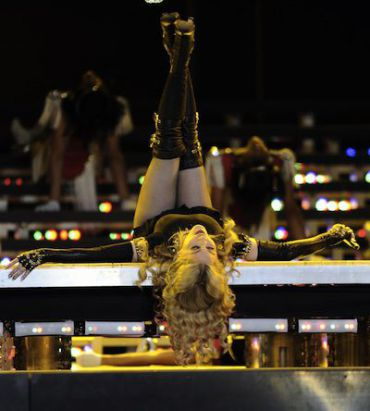 Madonna performs at the Super Bowl.