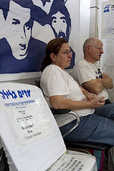 Aviva and Noam Shalit inside the protest tent set up outside of the Prime Minister?s residence. (click to enlarge)