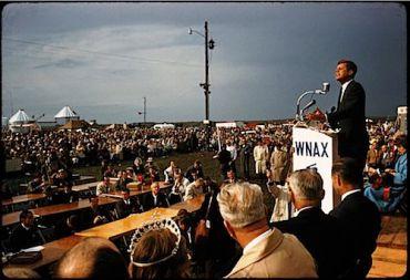 John F. Kennedy addresses farmers in South Dakota.