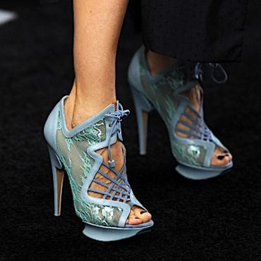 A close-up of the heels that Sarah Jessica Parker wore to the 2010 premiere of ?Harry Potter and the Deathly Hallows.?