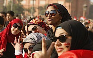 Women celebrate Mubarak?s resignation in Cairo?s Tahir Square.