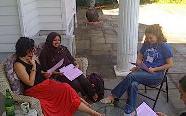 Community Organizing Residents, from left, Rabbi Lizzi Heydemann, Dinu Ahmed, and Kate Smallenburg.