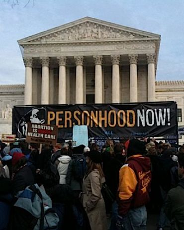 Banner in front of U.S. Supreme Court during 2010 pro-life march.