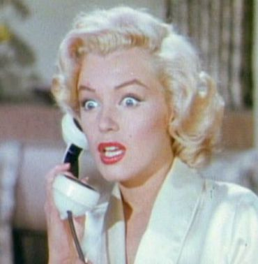 Albert, Is That You?: Marilyn Monroe, probably not talking to Einstein, in this detail of a film still from ?Gentlemen Prefer Blondes.?