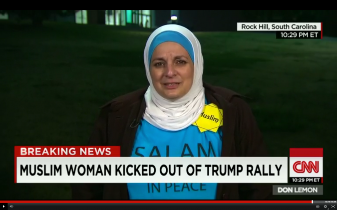 Anti-Trump: Jewish attorney Marty Rosenbluth and Rose Hamid, a Muslim flight attendant, stand silently in protest at a Trump rally in Winthrop, South Carolina, on January 8.