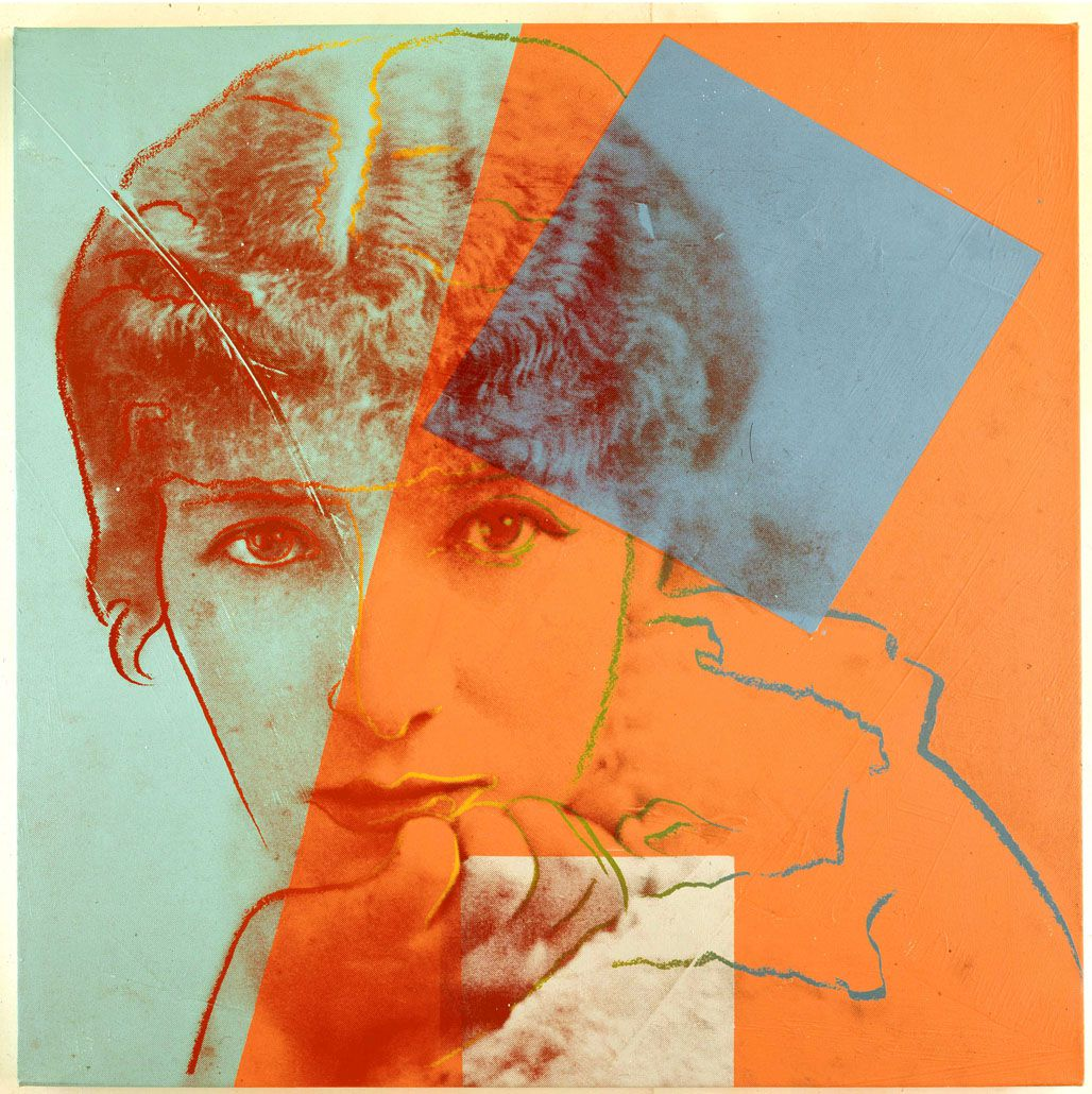 Andy Warhol (American, 1928?1987), Sarah Bernhardt from Ten Portraits of Jews of the Twentieth Century, 1980, synthetic polymer paint and silkscreen ink on canvas. Private collection. © The Andy Warhol Foundation for the Visual Arts, Inc./Artists Rights Society, New York/Courtesy Ronald Feldman Fine Arts, New York.