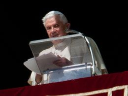 Benedict Speaks: The pope addresses the crowd at Saint Peter?s Square in the Vatican.