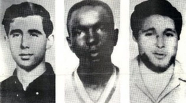 Andrew Goodman, Michael Schwerner and James Chaney were lynched by the Ku Klux Klan.