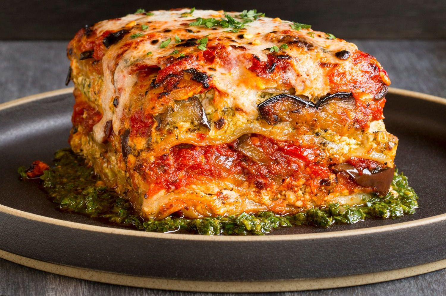 "Grilled Vegetable And Tofu ""Lasagna"" With Pesto Recipe — Dishmaps"