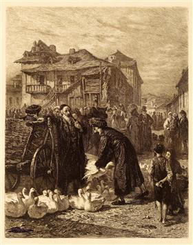Goose market in Kraków. Alois Schönn, 1869. Engraving. (Moldovan Family Collection)