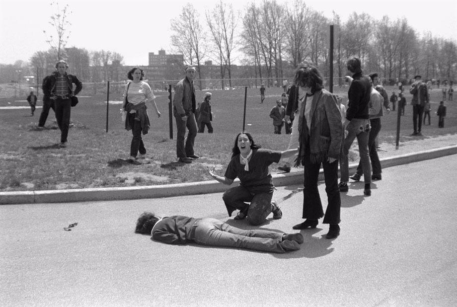 Mary Ann Vecchio, 14, kneeling over the body of Jeffrey Miller