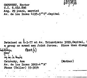 Mark of Death: A card from recently declassified state department archives details the detention of Argentine Jew Hector Catovsky.