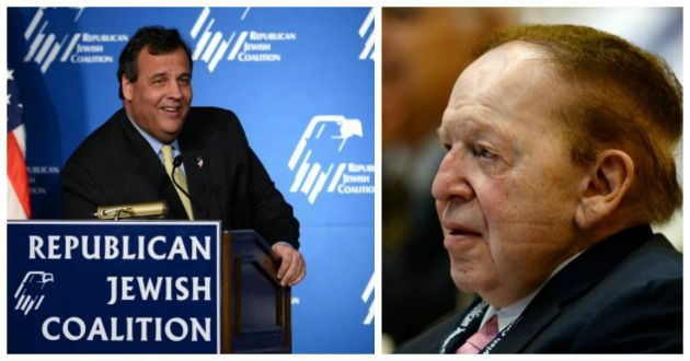Chris Christie addresses Republican Jewish Coalition, Sheldon Adelson listens, March 29
