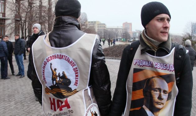 Pro-Russian activists in the eastern Ukrainian city of Donetsk March 1.