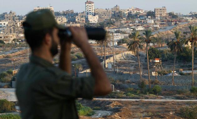 Hamas police on the Gaza-Egypt border, September 2013