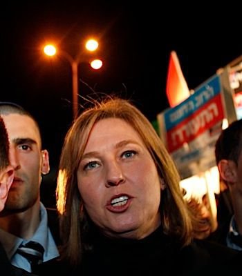 Opposition leader Tzipi Livni at Tuesday?s rally.