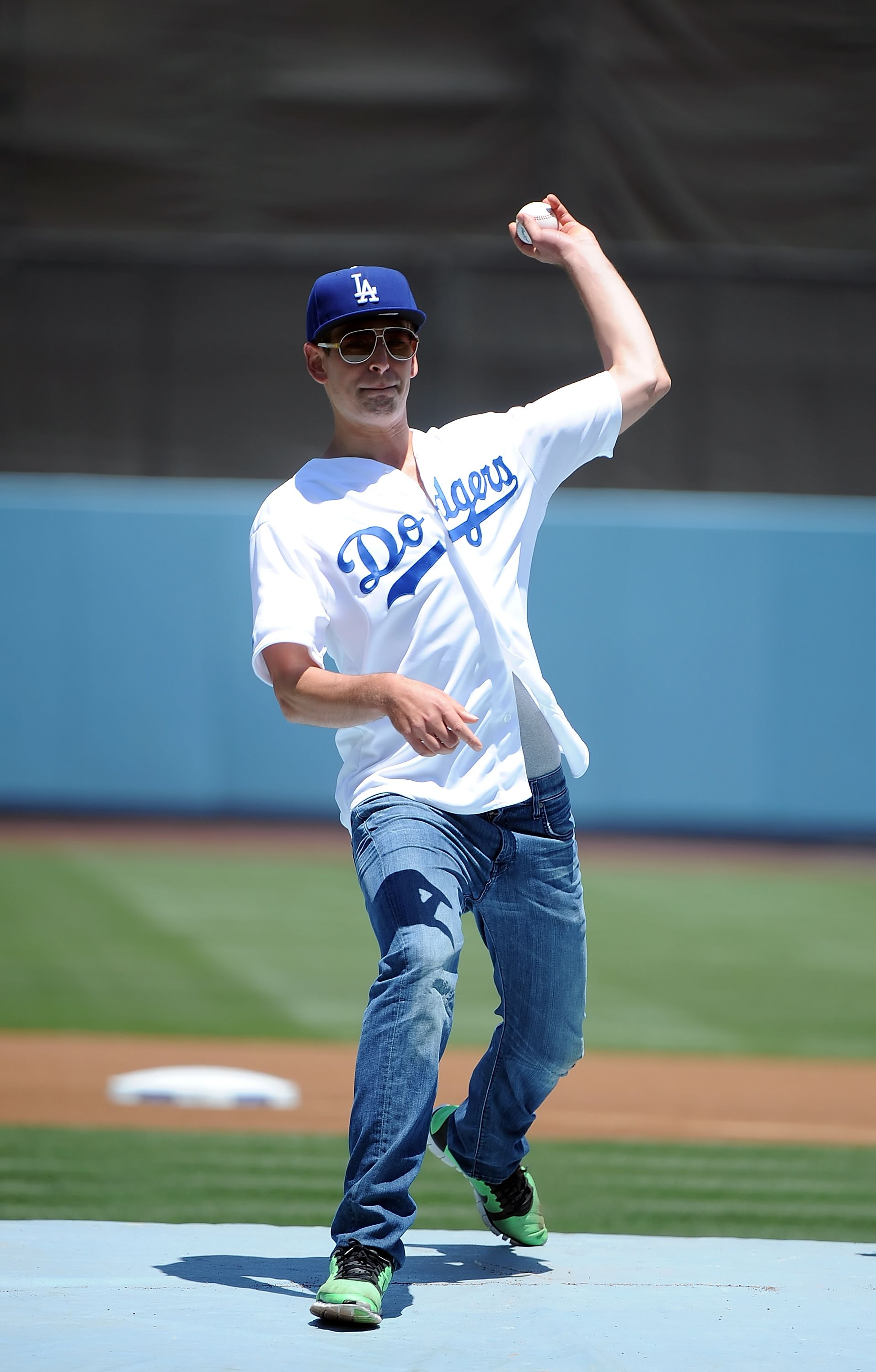 Matisyahu throws out the first pitch before game between the San Diego Padres and the Los Angeles Dodgers on July 15