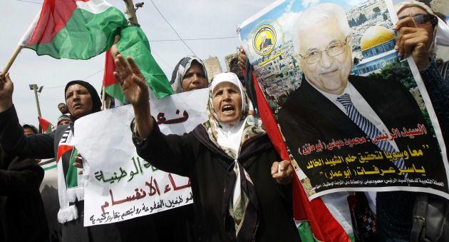 Palestinians in Gaza City on Wednesday celebrating Hamas-Fatah unity pact.